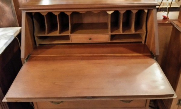 Chippendale style maple drop front desk with 3 drawers, lock and key.  $195