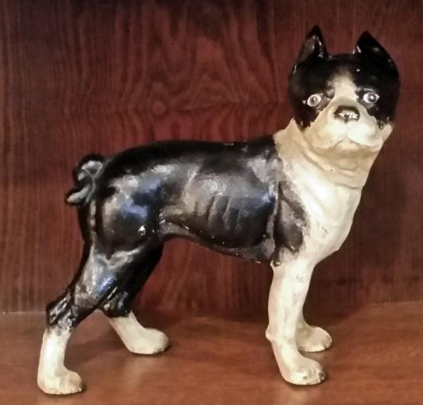 Antique Hubley cast iron piggy bank Terrier dog. $125.00