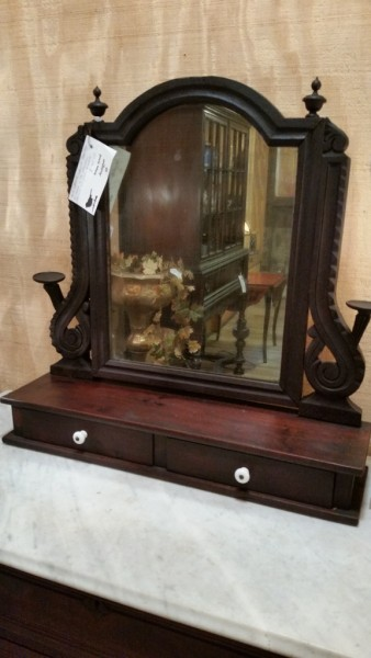 Mid 1800's walnut shaving mirror  $95.00