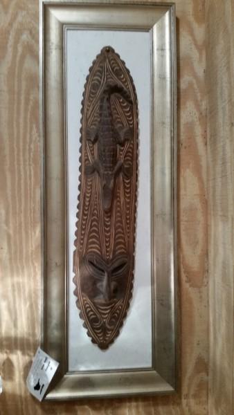 Original hand carved framed art sculpture unusual tribal mask with alligator $125.00