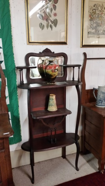 Late 19th Century Victorian Mahogany Etagere with shaped beveled glass mirror $180.00