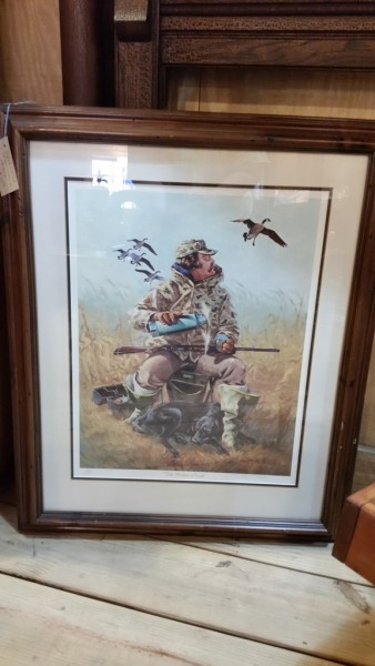 "Signed limited edition lithograph titled "" Coffee Break "" beautifully matted and framed"
