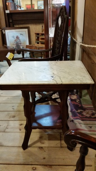 Antique East Lake Victorian marble top parlor table