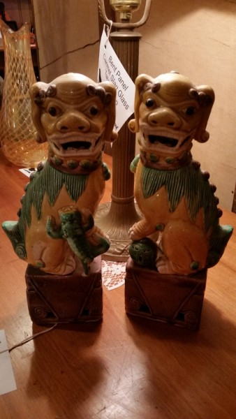 A pair of Sancai Chinese export Foo Dogs circa 1910-1930