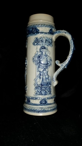 "Whites Utica Tall Stoneware Tankard Mug with Embossed Classical Design,  11 1/2"" H"