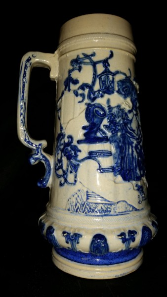 Whites Utica Tall Embossed Stoneware Handled Mug with Courting Scene