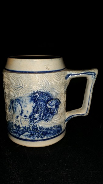"Whites Utica Stoneware Mug with Buffalo on one side and drinking men over keg on the other 4 1/2"" Tall 1834-1907"