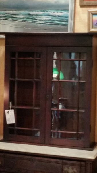 1800's double glass door cabinet with original glass