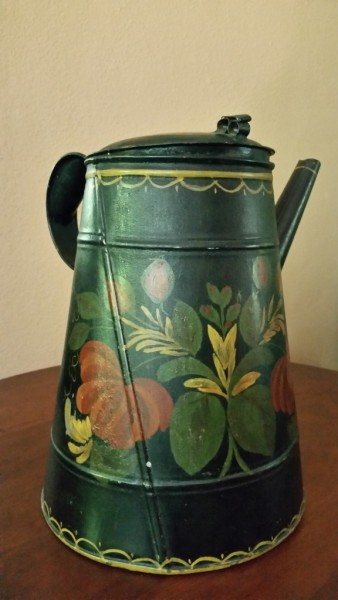 19th century American hand painted Tole tin coffee pot, light house form, side spout