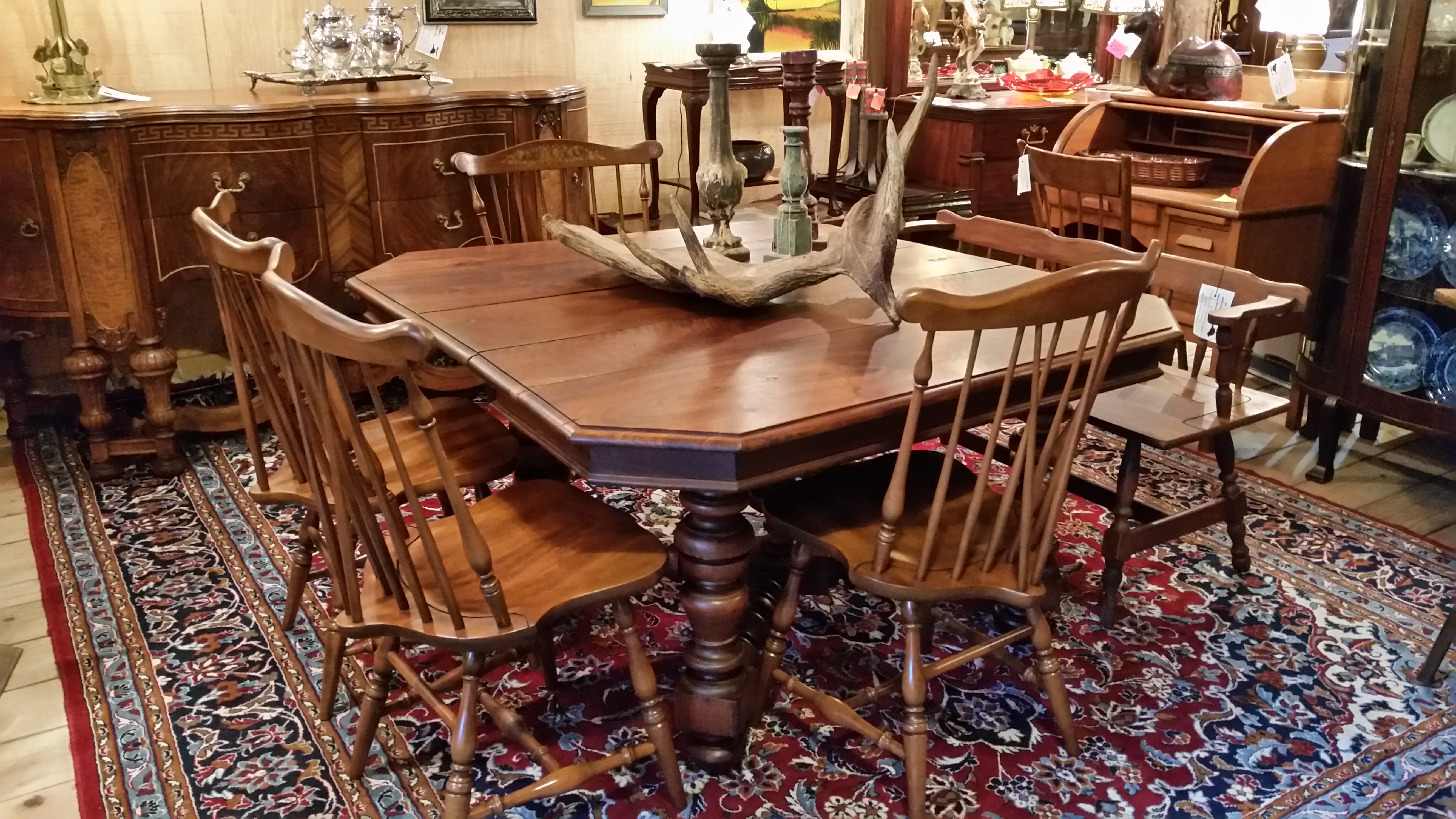 Antique Solid Chestnut Dining Table With Old World Charm