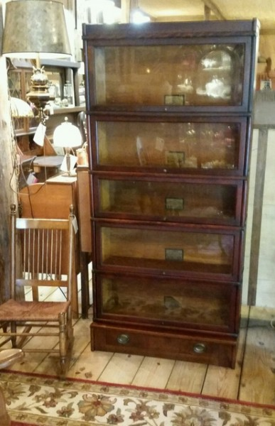 Beautiful Antique Globe Wernike 5-Stack barrister bookcase with original tag in each section, all original hardware, tilt and slide back glass fronts, finished cornice and bottom drawer.