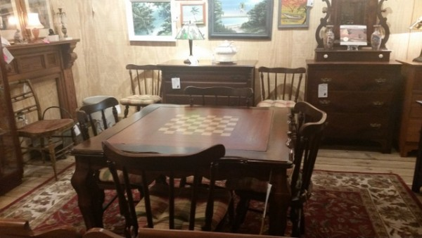 Game table with removeable inset for chess, checkers, backgammon or cards. Set of 6 colonial style spindle back Windsor chairs.