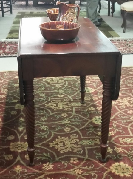 19th century drop leaf table with beautiful turned legs 19th century pottery