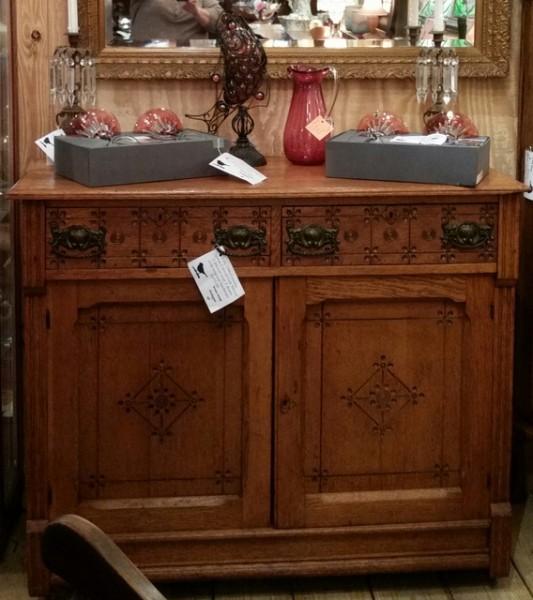 Antique spoon carved oak server with original hardware
