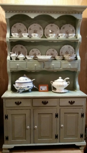 vintage shabby chic beautifully constructed step back French Country Cottage farmhouse cupboard