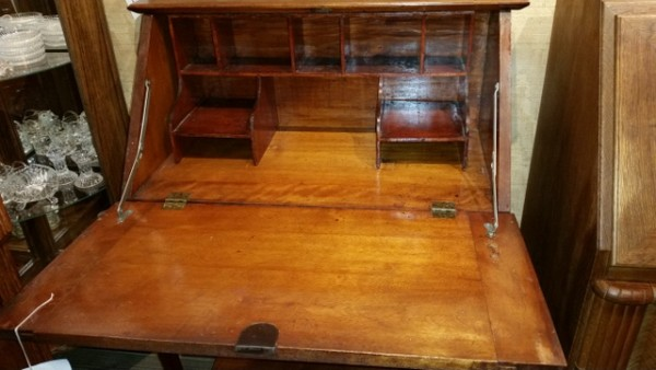 Late 19th century maple fall front ladies desk with one drawer fitted interior and original hardware