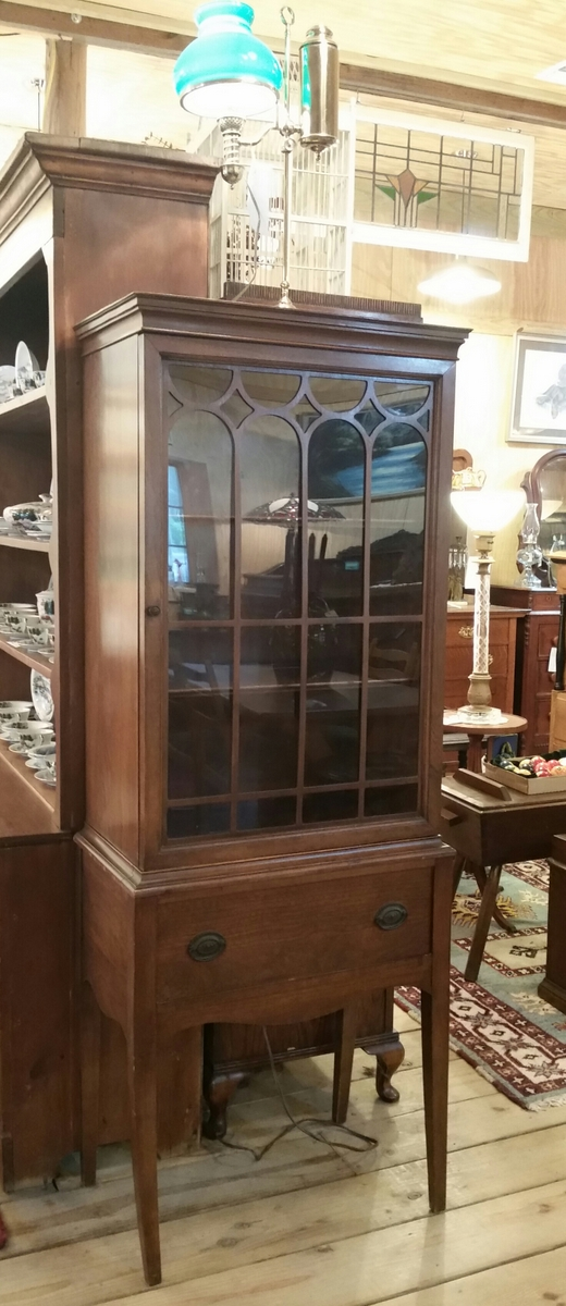 Custom Mahogany Hepplewhite Style Cabinet. Glass Door With Ornamental  Mullions Two Shelves And 1 Drawer